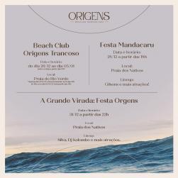 panfleto Beach Club Origens Trancoso
